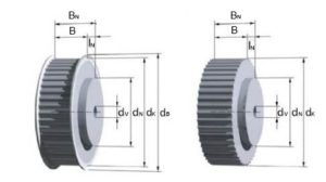 Pully drawing with dimension labels