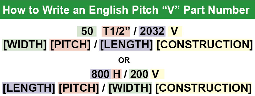 english pitch part number variation