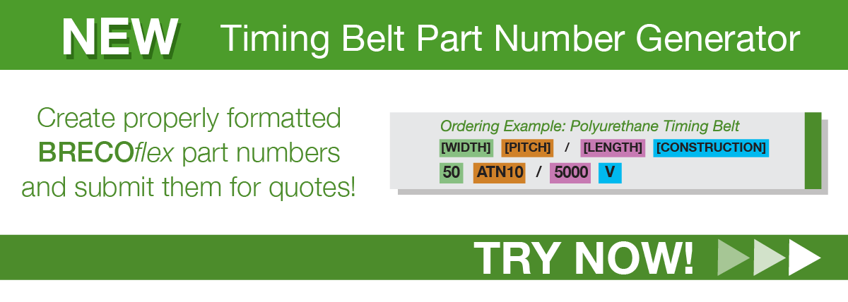 banner for timing belt part number generator